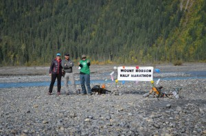 Volunteers at the half marathon turn-around point on Kinney Lake flats.