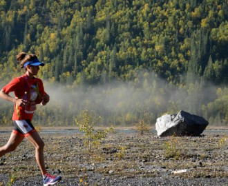 Michelle Katchur Roberts, current women's record holder for the Mount Robson Marathon 50km Ultra